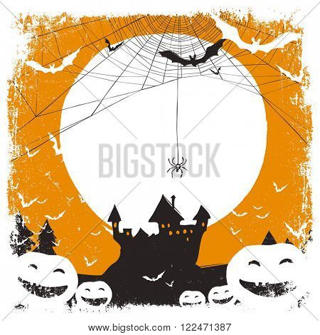 Halloween illustration with huanted castle and spider web and space for text. Raster version