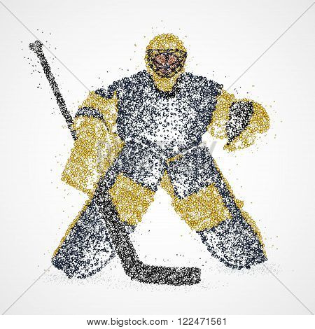 Abstract hockey goalie of colorful circles. Photo illustration.