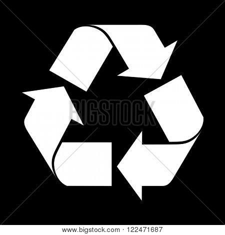 Reuse symbol, isolated on black. Raster version