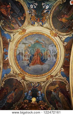 Interior of the Church of Saints Peter and Paul XVII century baroque. Lviv. Ukraine