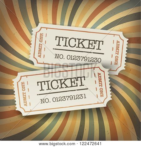 Two cinema tickets. On retro sunburst background. Raster version