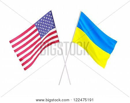 US Flags and Ukraine Friendship 3d Illustrations on a white background