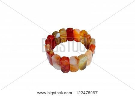 Bracelet made of carnelian. Isolate on white background