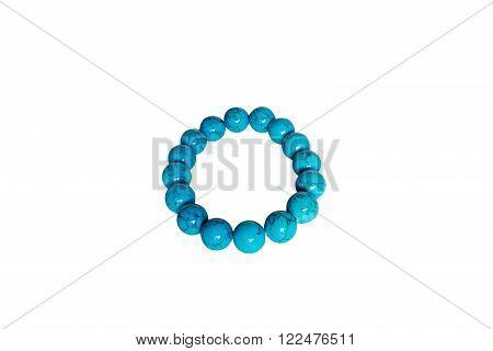 Bracelet made of turquoise. Isolate on white background