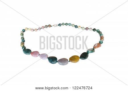 Beads from natural jasper on a white background