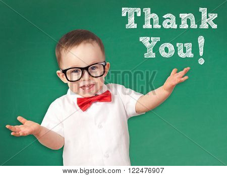 Smart Kid with a Thank You message on a chalkboard