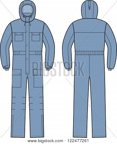 Vector illustration of overalls with hood. Front and back
