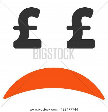 Pound Bankrupt Sad Emotion vector icon. Pound Bankrupt Sad Emotion icon symbol. Pound Bankrupt Sad Emotion icon image. Pound Bankrupt Sad Emotion icon picture. Pound Bankrupt Sad Emotion pictogram.