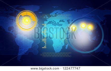 Holographic screen with world map and circles on blue background, technology concept
