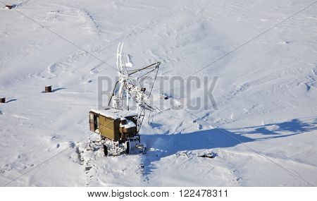 Abandoned military antenna, aerial view
