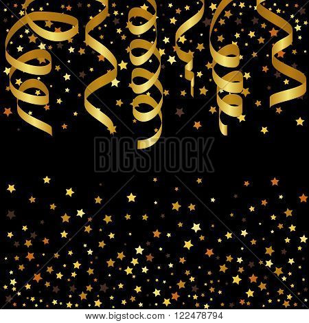 Christmas background with gold streamers and star confetti. Vector illustration