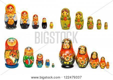 Set of russian toy matrioshka isolated on white background