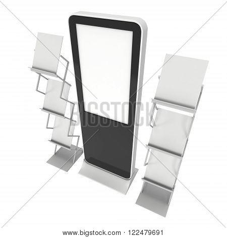 Lcd Display Stand And Magazine Rack.