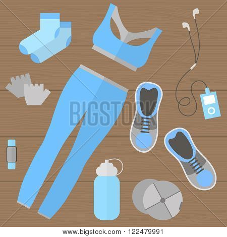 Fitness theme - set of flat sports and fitness elements of cloths shoes gloves socks fitness wristband baseball cap player bottle. Fitness concept flat vector illustration. Fitness woman set top view.