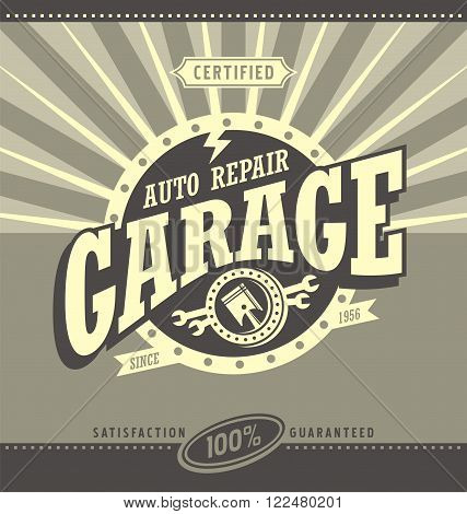 Classic garage retro banner design concept. Vintage car repair poster template. Commercial ad template for transportation business. Design elements. Auto service.