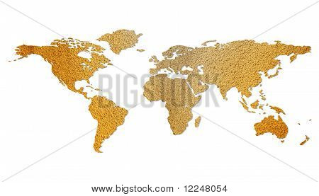 Isolated brown eco world map