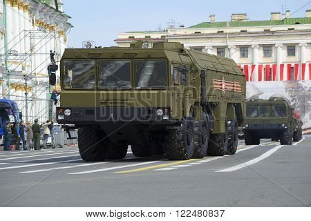 ST. PETERSBURG, RUSSIA - MAY 05, 2015: Launcher MZKT-7930 missile complex