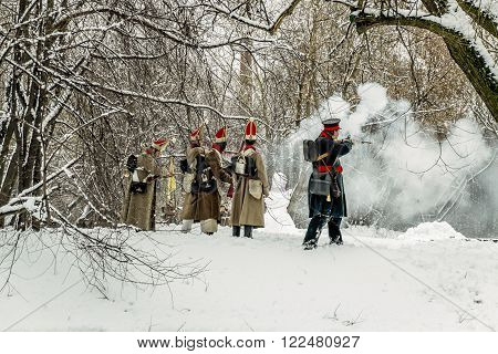 February 23 2016. Saint-Petersburg. The reconstruction of the war of 1812 in the Ekateringof Park in Saint Petersburg. Russia.