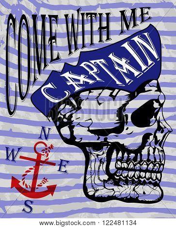 Skull and crossbones / a mark of the danger warning / T-shirt graphics / super skull illustration
