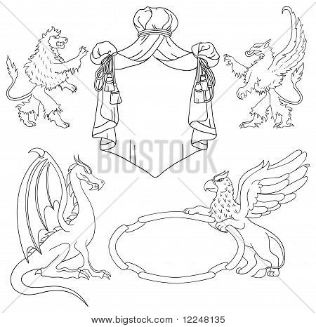 Vector Heraldic Monsters