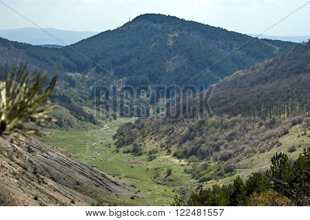 Springtime panorama of mountain landscape with forest and beauty meanders river in valley, Murgash mountain, Bulgaria