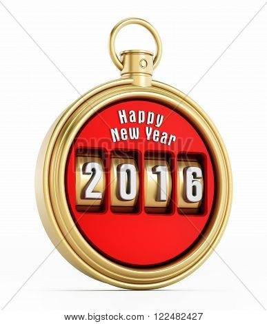 New year 2016 chronometer isolated on white background