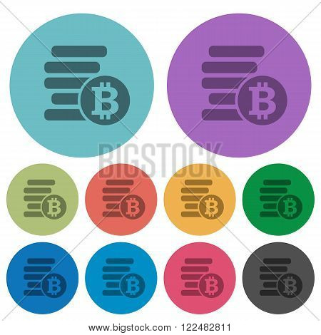 Color bitcoins flat icon set on round background.