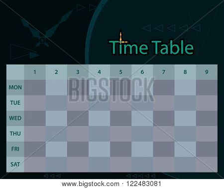 Timetable Schedule Planner Vector Illustration