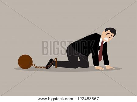 Desperate businessman with weight burden. business concept