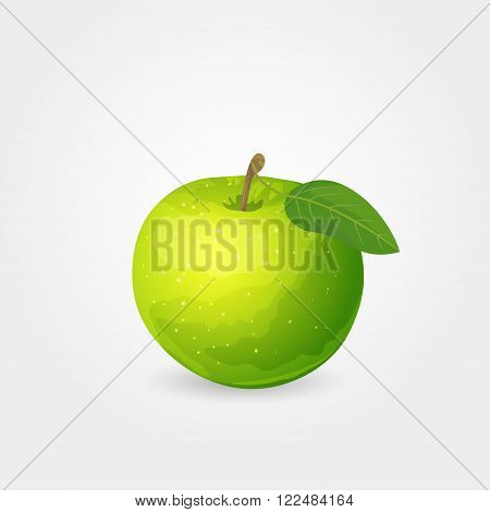 Illustration of one glossy ripe green apple with leaf