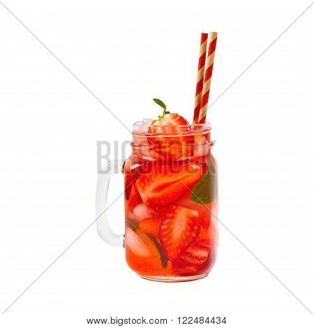 Strawberry Drink, isolated on white background. Selective focus.