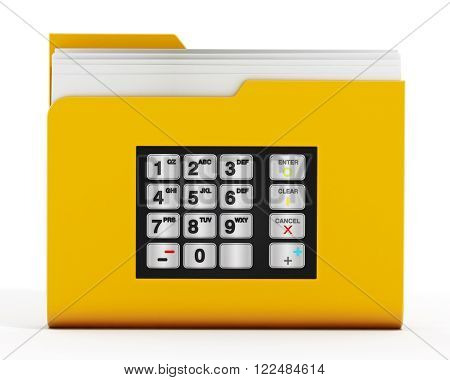 ATM keypad on folder icon with documents isolated on white background