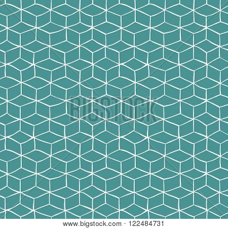 Seamless pattern with white hand drawn cubes on green background