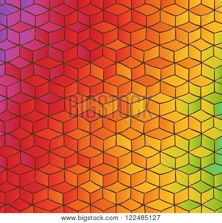 Abstract background with hand drawn pattern of colored cubes