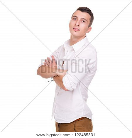 Thinking man isolated on white background. Closeup portrait of a casual young pensive businessman with copyspace. Caucasian male model.