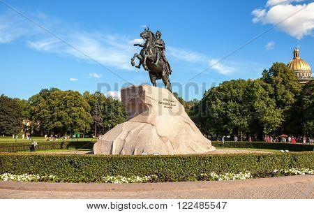 The equestrian statue of Peter the Great (Bronze Horseman) in St. Petersburg, Russia (1782)