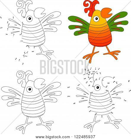 Cartoon Parrot. Coloring Book And Dot To Dot Game For Kids