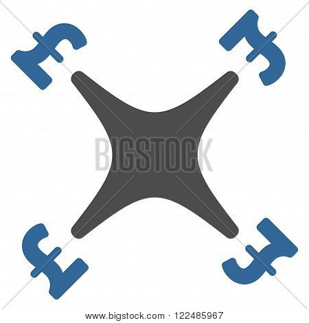 Pound Business Drone vector icon. Pound Business Drone icon symbol. Pound Business Drone icon image. Pound Business Drone icon picture. Pound Business Drone pictogram. Flat pound business drone icon.