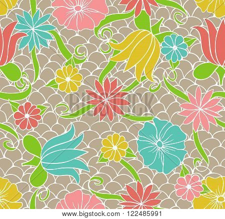 Seamless pattern with hand drawn colored floral ornament