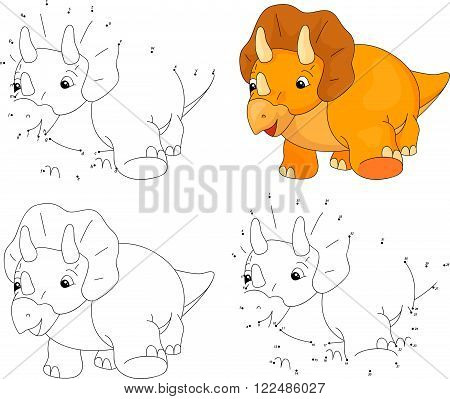 Cartoon Triceratops. Coloring Book And Dot To Dot Game For Kids