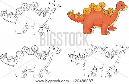 Cartoon Stegosaurus. Coloring Book And Dot To Dot Game For Kids