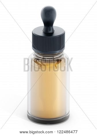 Perfume dropper containing yellow liquid isolated on white background