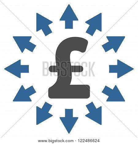 Pound Distribution vector icon. Pound Distribution icon symbol. Pound Distribution icon image.