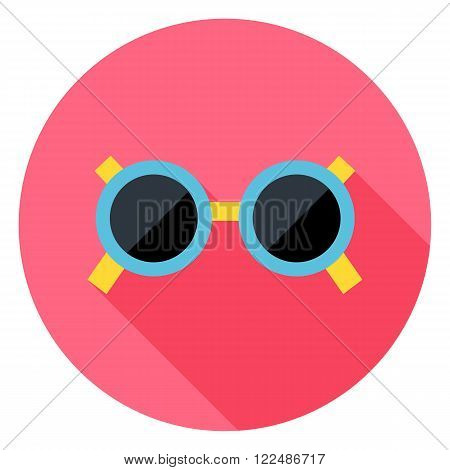 Sun Glasses Circle Icon. Flat Design Vector Illustration with Long Shadow. Summer Beach and Fashion Accessories Symbol.