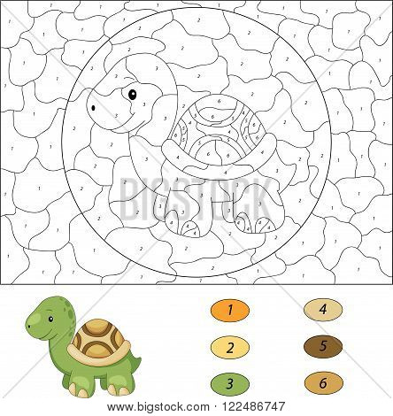 Cartoon Turtle. Color By Number Educational Game For Kids