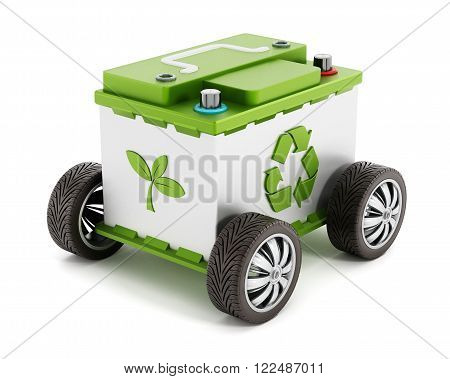 Recyclable car battery with tyres isolated on white background