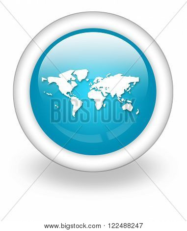 Icon Button Pictogram with World Map symbol