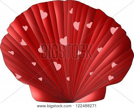 A scallop seashell decorated in Valentine colors of shades of red and adorned with pink hearts tucked into its folds