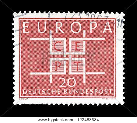 GERMANY - CIRCA 1963 : Cancelled postage stamp printed by Germany, that shows CEPT stamp.