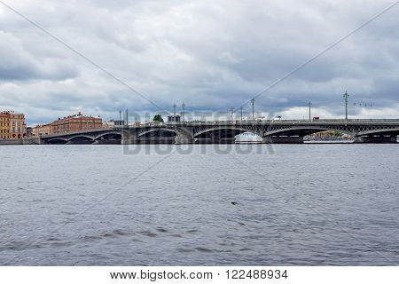 Blagoveschensky bridge on the Neva River in Saint Petersburg on a cloudy day